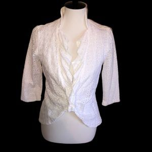 C Luce Eyelet Ruffle Front Jacket Medium